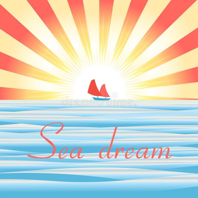 Paisaje del mar con la nave ilustración del vector