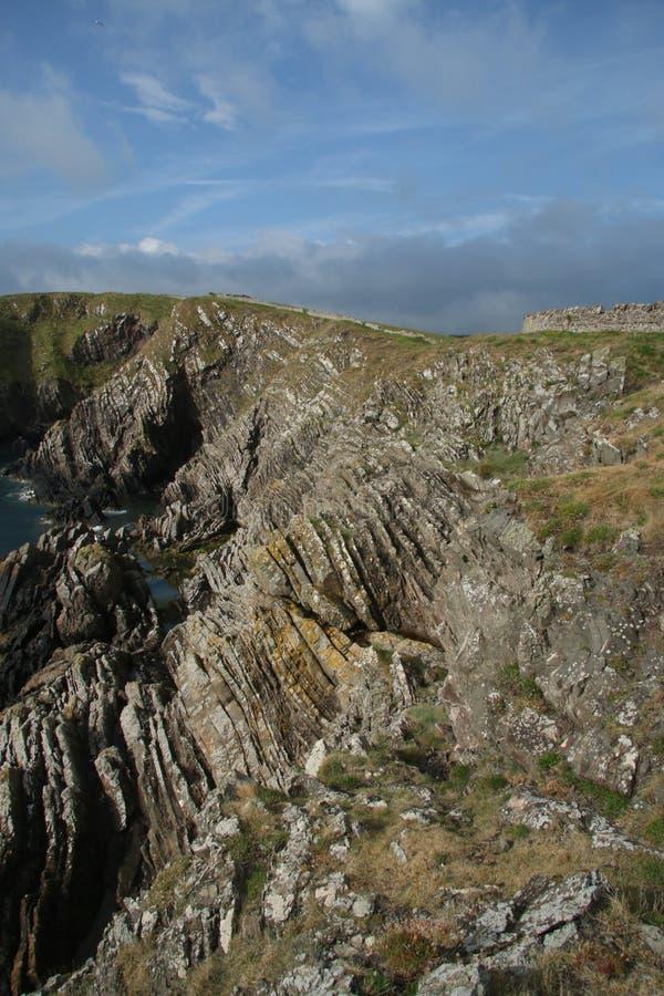 Paisaje del mar de acantilados, cerca de Eyemouth, de Northumberland y de las fronteras escocesas fotos de archivo