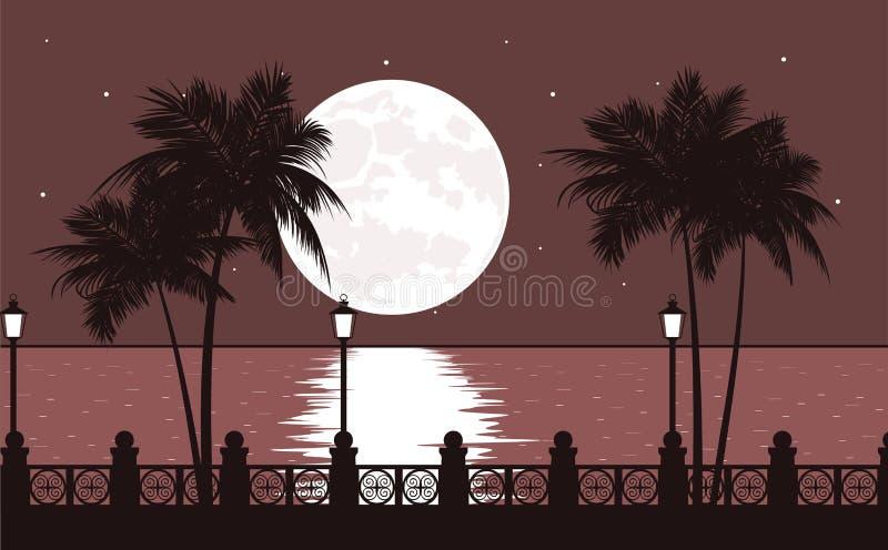 Paisaje del mar del terraplén de la noche ilustración del vector