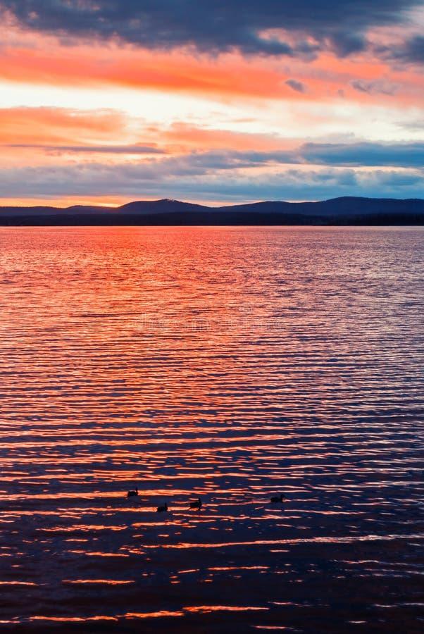 Paisaje del mar - superficie de la agua de mar encendida por la luz del verano de la puesta del sol Naturaleza del verano del mar fotos de archivo libres de regalías