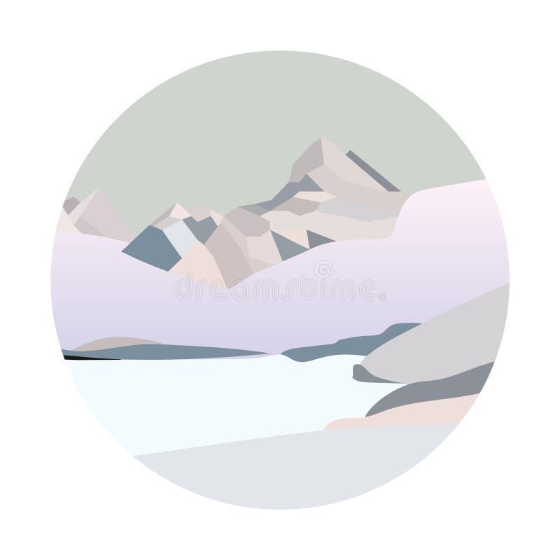 Paisaje del norte de la montaña del invierno Ejemplo plano simple del vector ilustración del vector