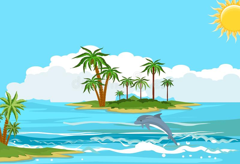 Paisaje del océano, delfínes que manejan en las ondas stock de ilustración