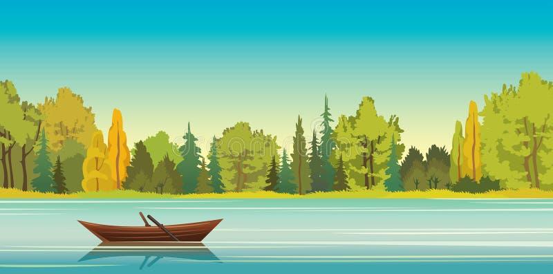 Paisaje del otoño - barco, lago, bosque ilustración del vector