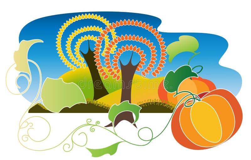 Paisaje del otoño con dos calabazas stock de ilustración