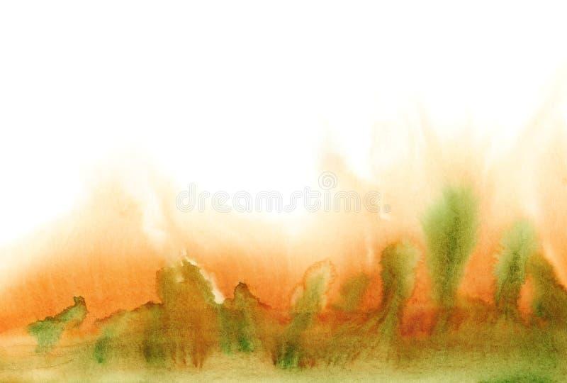 Paisaje del otoño de la acuarela de Absrtact en el fondo blanco ilustración del vector