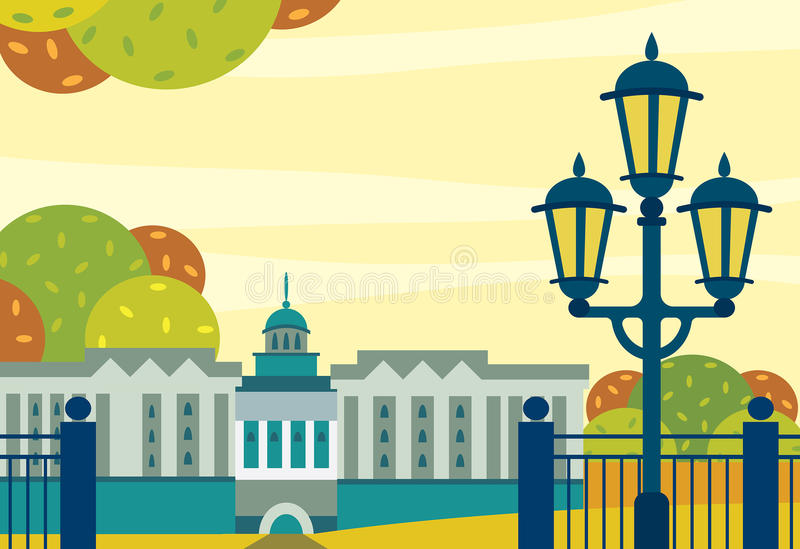 Paisaje del otoño de la ciudad - edificio, jardín y alumbrado público ilustración del vector