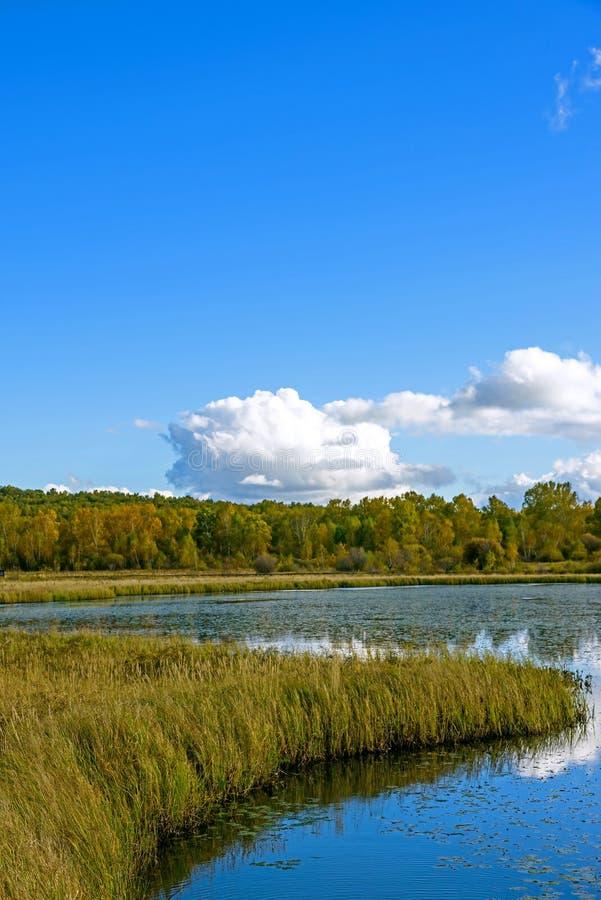 Paisaje del otoño del lago the Sun imagen de archivo