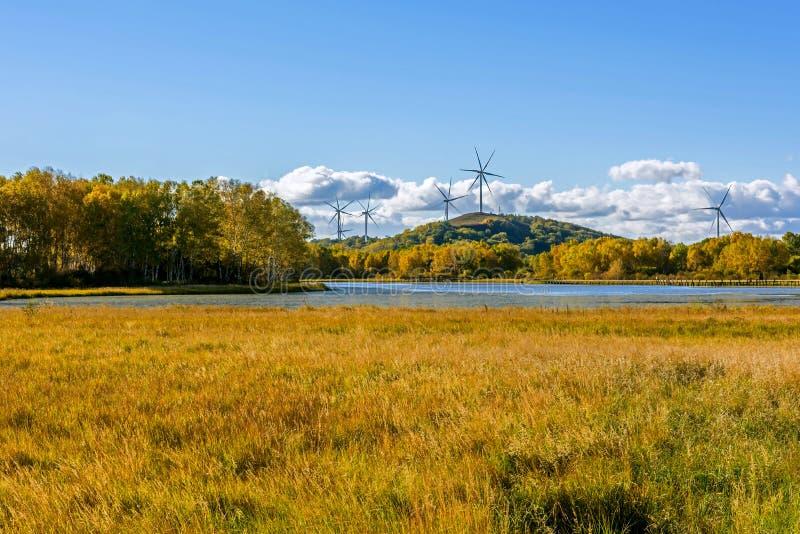 Paisaje del otoño del lago the Sun fotografía de archivo libre de regalías