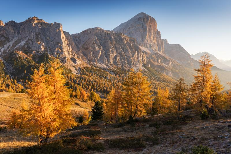 Paisaje del otoño en un día soleado en las dolomías italianas Opinión Tofana di Rozes Dolom?as Cortina d'Ampezzo, Véneto Italia foto de archivo