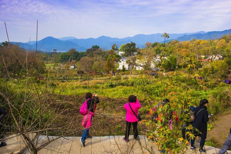 Paisaje del otoño del pueblo del hongcun, condado yixian, huangshan, Anhui foto de archivo