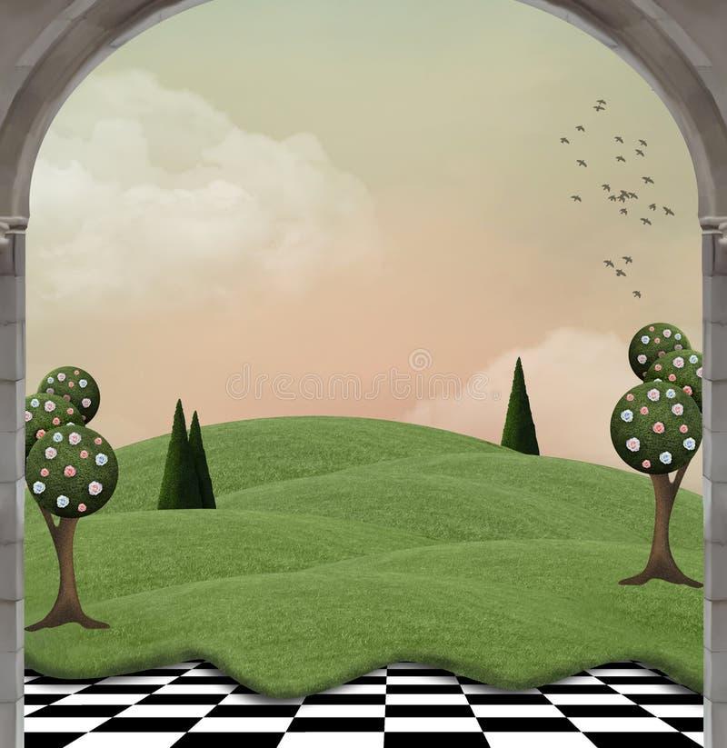 Paisaje del país de la fantasía con los árboles surrealistas ilustración del vector