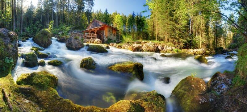Paisaje del panorama de Austria con la cascada y watermill cerca de la sal imagenes de archivo