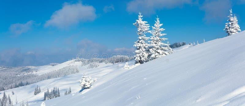 Paisaje del panorama de la montaña del invierno imagen de archivo libre de regalías
