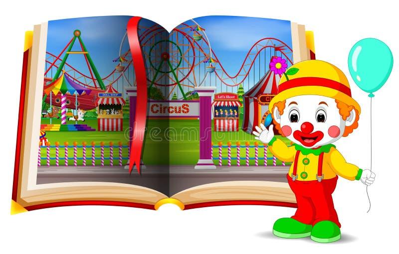 Paisaje del parque de atracciones en el libro y el payaso libre illustration