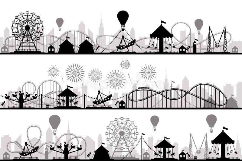 Paisaje del parque de atracciones Siluetas de las monta?as rusas del carnaval, carrusel festivo y vector de los parques de la nor ilustración del vector