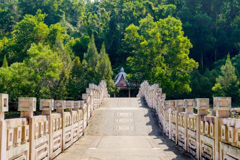Paisaje del parque de la ciudad Puente sobre el lago fotografía de archivo libre de regalías