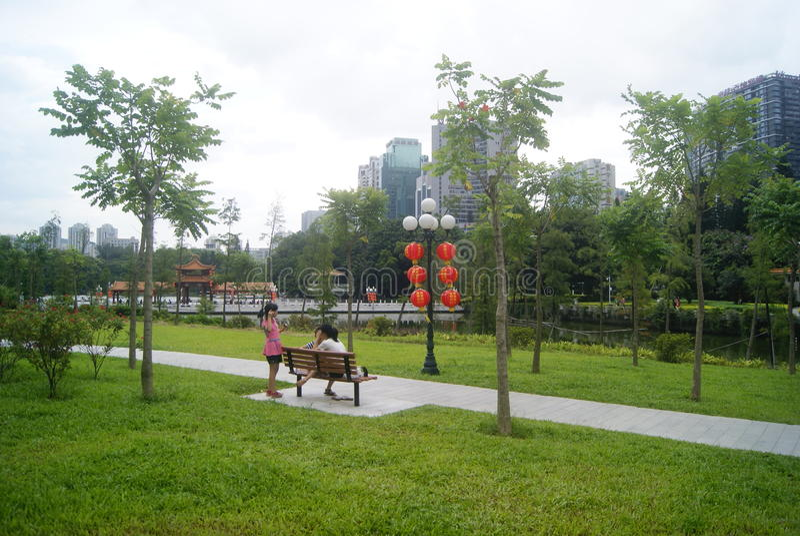 Paisaje del parque del lichí de Shenzhen, en China fotos de archivo
