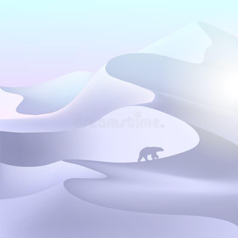 Paisaje del Polo Norte snowdrift Look polar ilustración del vector