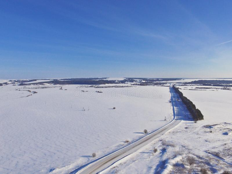 Paisaje del quadcopter del invierno fotos de archivo