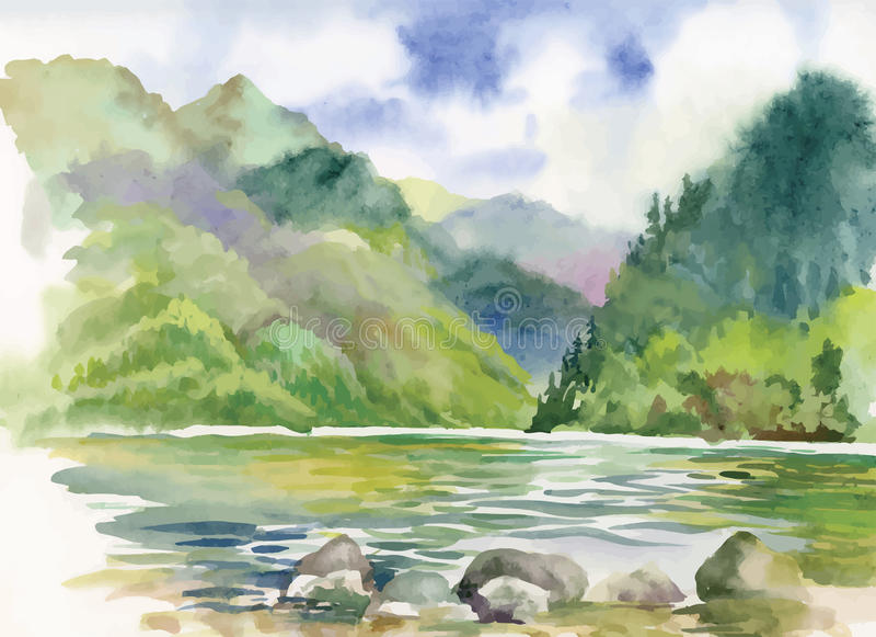 Paisaje del río del verano de la acuarela libre illustration