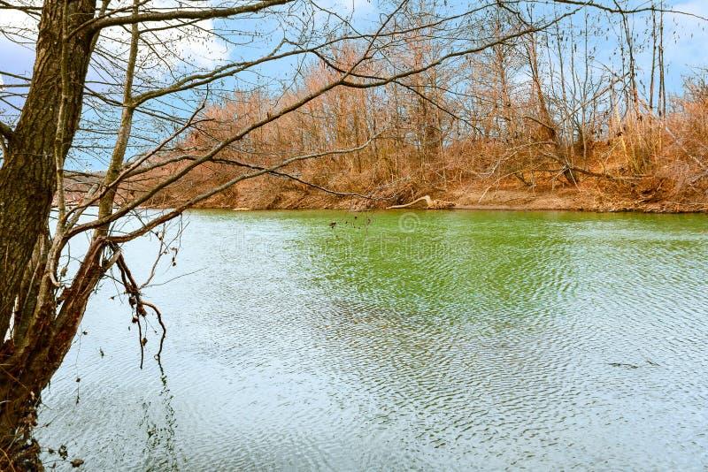 Paisaje del río en primavera temprana imagenes de archivo