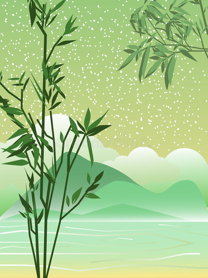 Paisaje del resorte asia Ramas de bambú Las montañas stock de ilustración