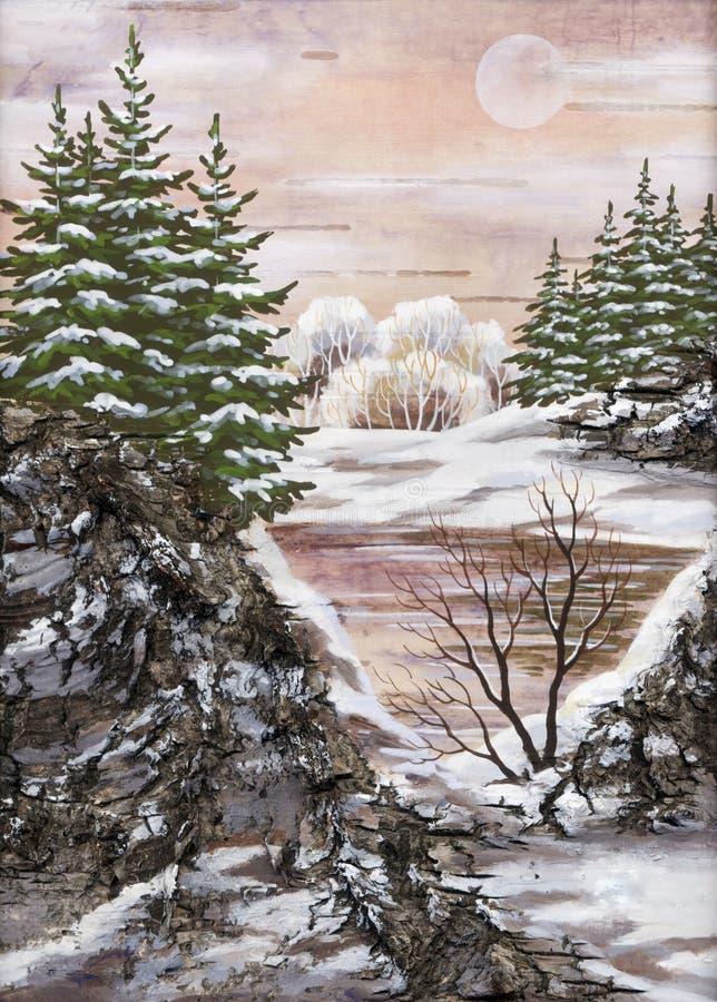 Paisaje del siberiano del invierno ilustración del vector