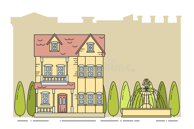 Paisaje del suburbio con la línea separada arte del fondo de la ciudad de la casa del soldado ilustración del vector