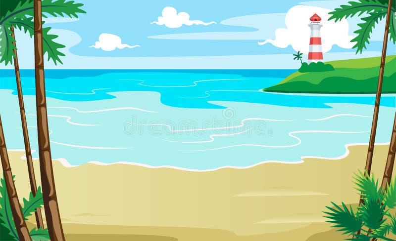 Paisaje del paisaje tropical de la orilla de mar de la costa Casa ligera libre illustration