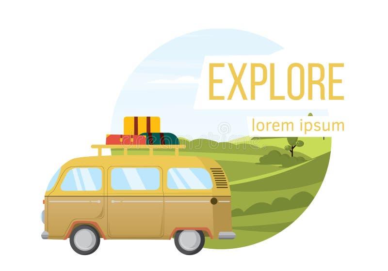 Paisaje del vector campos y furgoneta Viaje por carretera libre illustration