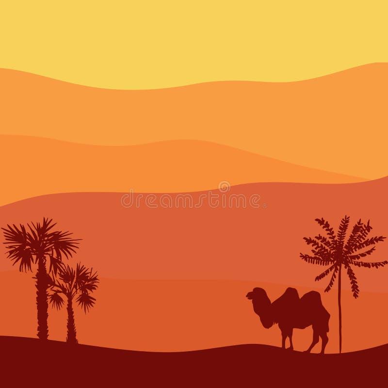 Paisaje del vector con el camello stock de ilustración