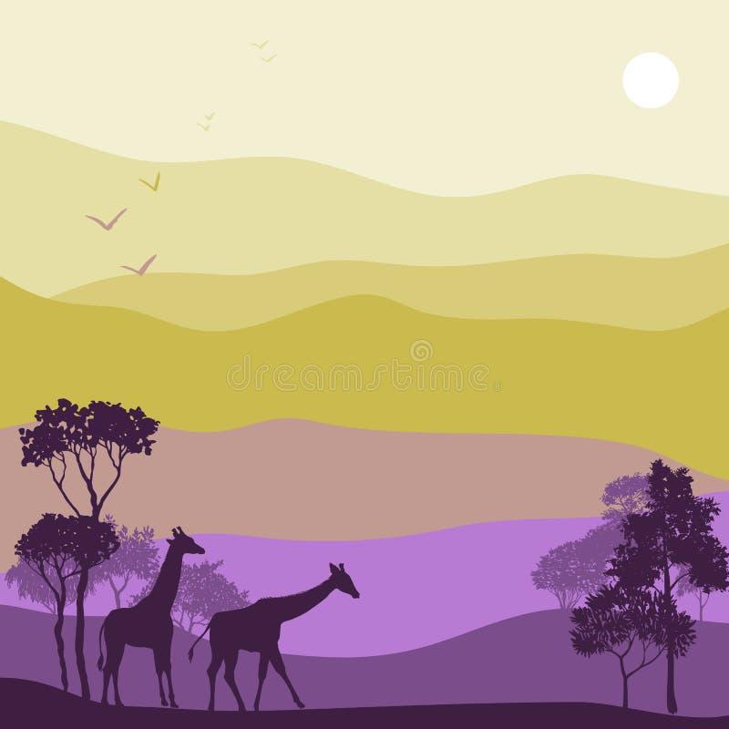 Paisaje del vector con las jirafas stock de ilustración