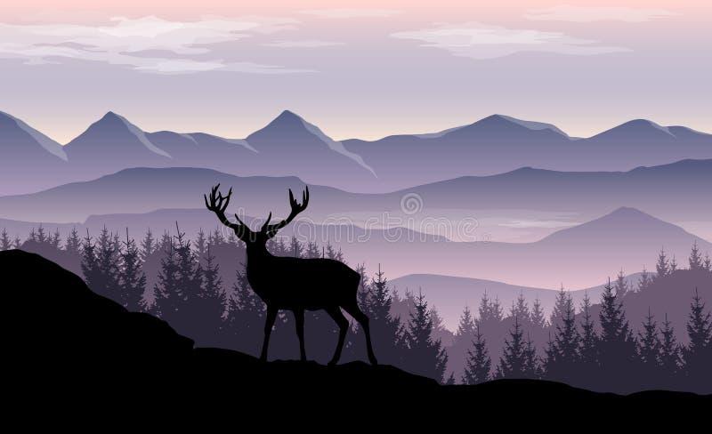 Paisaje del vector con las montañas brumosas, el bosque y la silueta de ciervos libre illustration