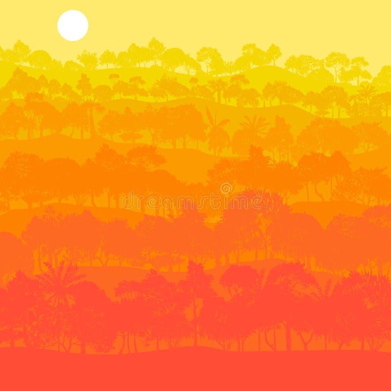 Paisaje del vector con los árboles stock de ilustración