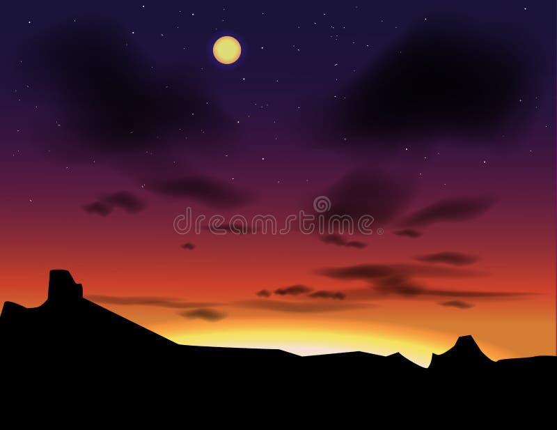 Paisaje del vector con los cielos de la tarde Puesta del sol como fondo ilustración del vector