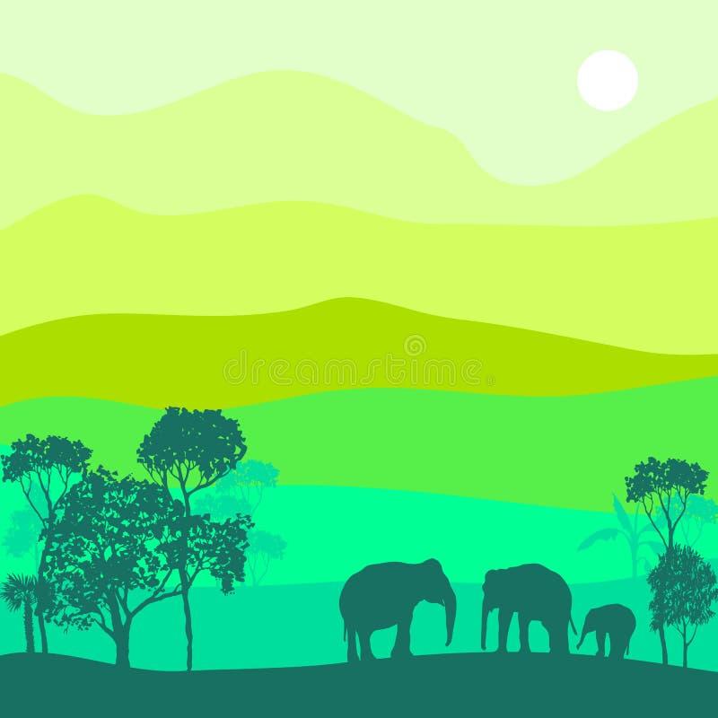Paisaje del vector con los elefantes libre illustration