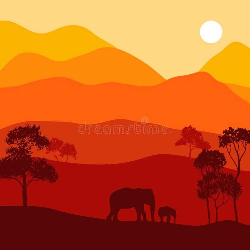 Paisaje del vector con los elefantes ilustración del vector