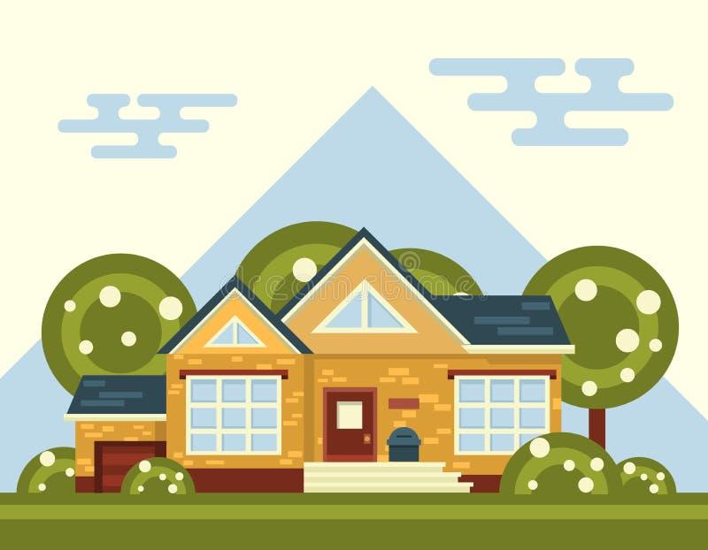 Paisaje del vector del verano con la casa y el árbol adentro ilustración del vector