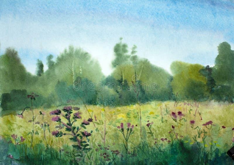 Paisaje del verano con el campo y las flores libre illustration