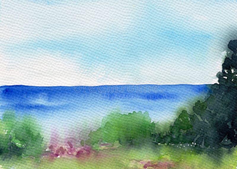 Paisaje del verano con el lago o río, bosque y prado Paisaje hermoso Ilustración de la acuarela Bosquejo colorido de la naturalez stock de ilustración