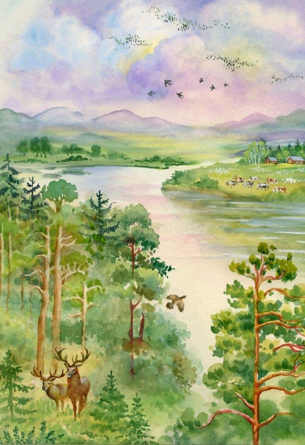 Paisaje del verano con el río, el pino, los árboles y los ciervos ilustración del vector