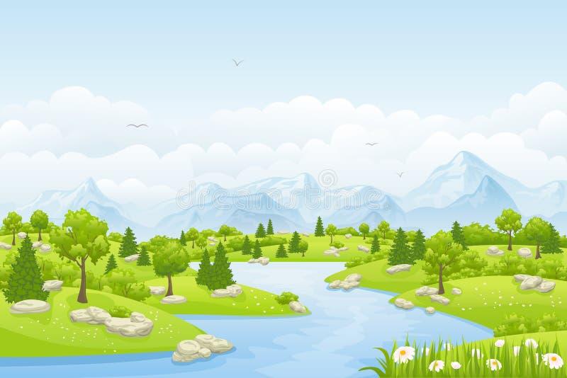Paisaje del verano con las montañas ilustración del vector
