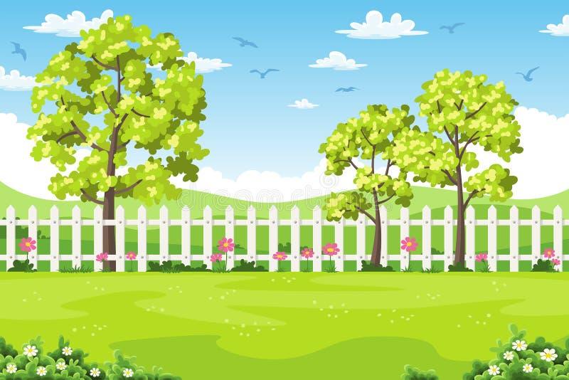 Paisaje del verano con los árboles, las flores y la cerca stock de ilustración
