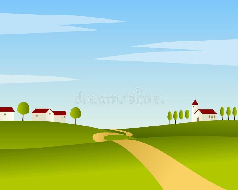 Paisaje del verano de la carretera nacional ilustración del vector