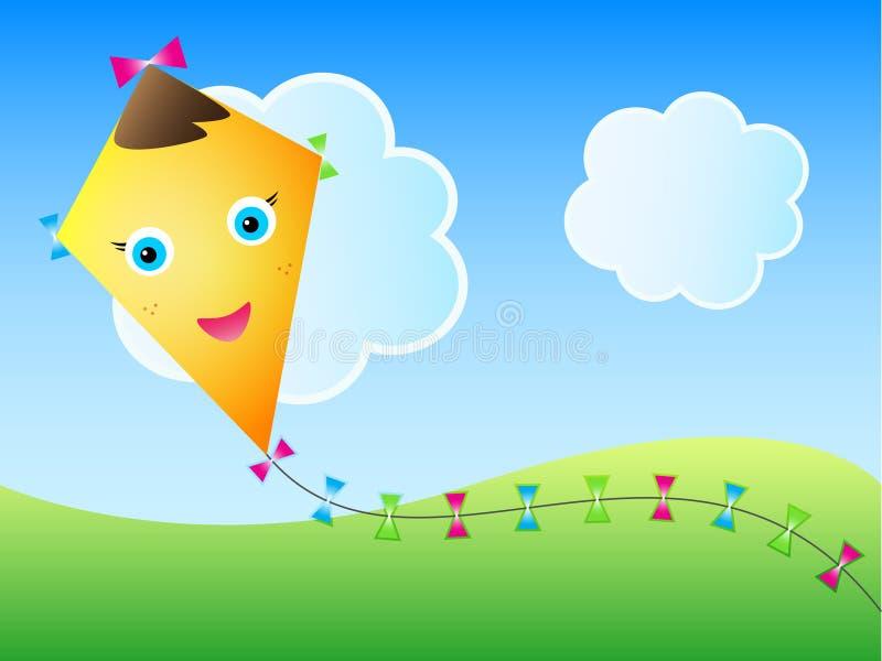 Paisaje del verano de la cometa stock de ilustración