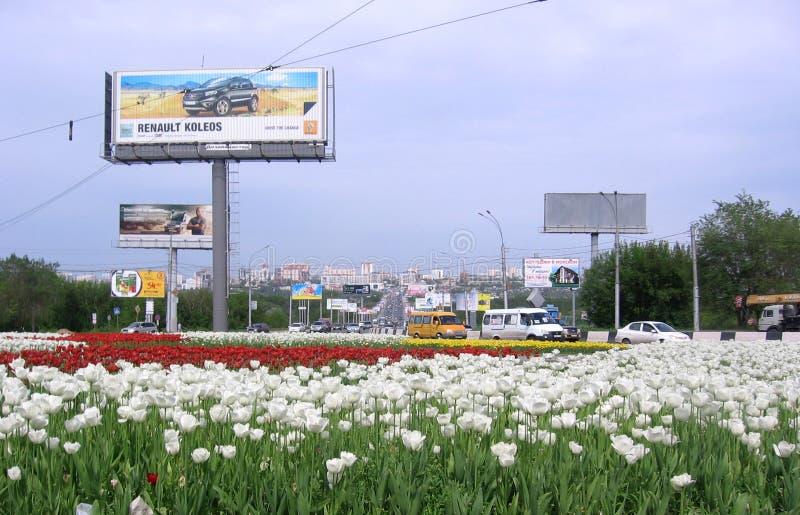 Paisaje del verano de Novosibirsk con la entrada elegante de la ciudad 2015 de los tulipanes de las flores al puente municipal co imágenes de archivo libres de regalías