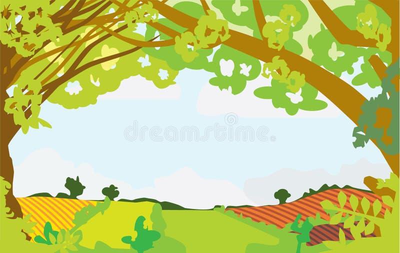 Paisaje del verano enmarcado por los árboles libre illustration