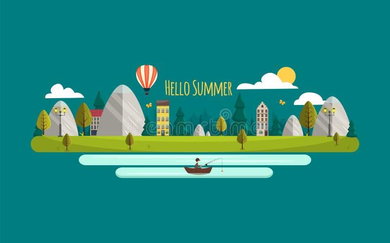 Paisaje del VERANO Ilustración del vector Hola verano Naturaleza plana del estilo con las montañas y las casas Airballon, río y p stock de ilustración