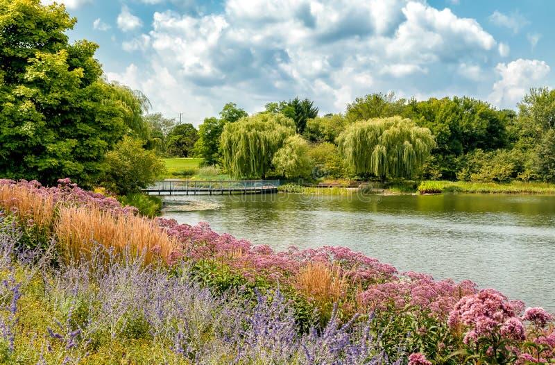 Paisaje del verano del jardín botánico de Chicago, Glencoe, los E.E.U.U. fotos de archivo