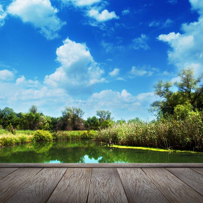 Paisaje del verano, río y cielo azul foto de archivo libre de regalías